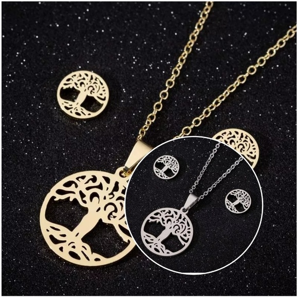 4f514c250df66 Stainless Steel Tree of Life Choker Necklaces Set